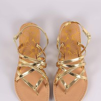 Qupid Strappy Patent Thong Gladiator Flat Sandal