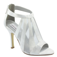 White Caged Lotus Satin Peep Toe Heels