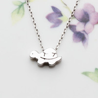 Turtle: All Sterling Silver Cute Turtle Pendant & Chain, Necklace