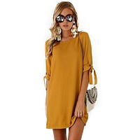 Midi Woman Dresses N O-Nece Sexy Solid Clothing Femme Casual Summer Dresses Ladies Clothes Office Half Sleeve Harajuku 2017