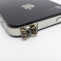 20%OFF Retro Mini Black Crystal Bowknot Dust Plug 3.5mm Cell Phone Plug iPhone 4 4S 5 5S Plug Samsung Charm Headphone Jack Ear Cap