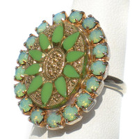 Green Rhinestone Ring with Ornate Art Glass and Gold Accent Statement Ring - Size 6 or 7 Adjustable Vintage Jewelry