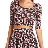 Bar-Back Floral Print Crop Top by Charlotte Russe - Black Combo