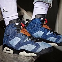 Air Jordan 6 Washed Denim AJ6 Men Casual Sport Basketball Shoes Sneakers Blue