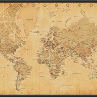 Antique Style World Map - Poster 36x24 Dry Mounted Poster Wood Framed