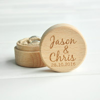 Personalized Rustic Wedding Wood Ring Box Holder