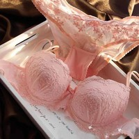 Etosell Lady Solid Bra Suit Embroidery Floral Push Up Bra Set