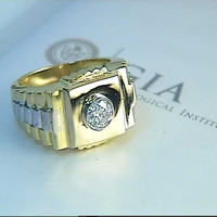 0.90ct Mens Rolex Diamond Ring 18kt Yellow & White Gold GIA certified JEWELFORME BLUE