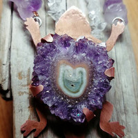 Horned Toad Pendant Amethyst Stalactite Necklace Copper and Amethyst Lizard Necklace Prong Set Amethyst Horny Toad Jewelry February