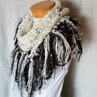 Black and white knit scarf Fringed triangle shawl Wool blend wrap Ladies neck warmer Small teen shawl