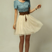Vintage Denim Dress with Contrast Mesh Skirt - OASAP.com