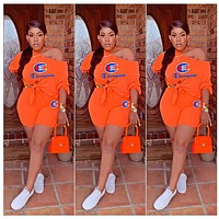 Champion Summer Woman Sexy Embroidery Top Shorts Set Two Piece Sportswear Orange