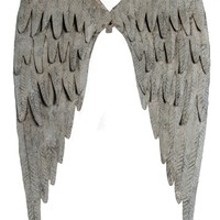 Vintage Distressed Metal Angel Wings -- Wall Decor 35-in