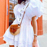 Retro Court Style Comfortable Fabric Puff Sleeve Layered Cake Dress
