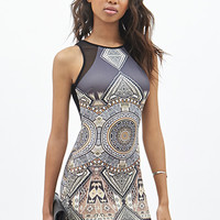 FOREVER 21 Tribal Print Scuba Knit Dress Charcoal/Taupe