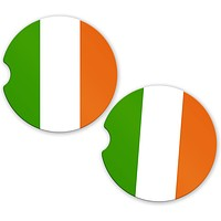 BrownInnovativeMedia Ireland Irish Flag Custom Car Coasters Cup Holder Matching Coaster Set