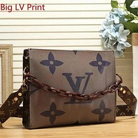 LV Louis Vuitton Women Two-Sided Print Leather Crossbody Satchel