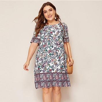 Plus Size Multicolor Floral And Paisley Print Tunic Dress Women  Boho Shift Short Sleeve Round Neck Dresses
