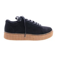 Stealthy01M Black By Bamboo, Classic Round Toe Lace Up Flats With Platform Ribbed Tooling Sneaker