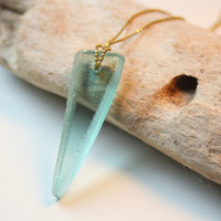 Recycled Glass Necklace - Handmade Claw Pendant on Delicate Brass Chain - Mint Green