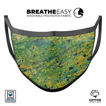 Abstract Wet Paint Green Lines - Made in USA Mouth Cover Unisex Anti-Dust Cotton Blend Reusable & Washable Face Mask with Adjustable Sizing for Adult or Child