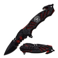 "Z-Hunter Spring Assisted Knife 3.5"" Blade-Red Liner"