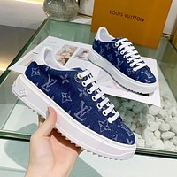Louis Vuitton LV new denim alphabet jacquard women's platform sneakers