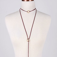 Go With The Flow Burgundy Rope Necklace