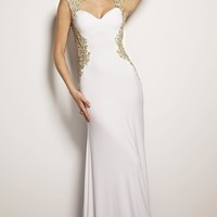 Jovani 25411 Sleeveless Fitted Long White Prom Dress