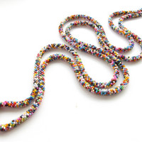 Colorful Long Beaded Necklace wrap Crochet Rope boho long necklace statement necklace bib Colorful Beaded Necklace gift for her