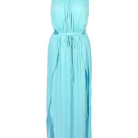 Sky Blue Cut Away Open Waist Split Maxi Dress