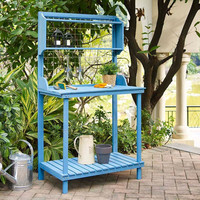 Blue Wood Potting Bench with Garden Tool Hanging Trellis & Slatted Shelf