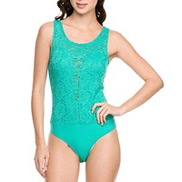 Sexy Sleeveless Floral Lace Contrast Stretch Bodysuit Leotard Top with Button Closure