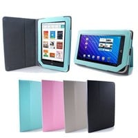 GMYLE Aqua Blue Leather Carrying Slim Perfect Fit Flip Folio Portfolio Book Style Case Cover Stand for the Nook Color and Nook Tablet 7-Inch Android