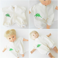 bitty baby doll clothes, boy or 15 inch twin, off white summer romper with embroidered dinosaur, handmade adorabledolldesigns