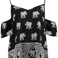 Isla Elephant Print Cold Shoulder Top | Boohoo