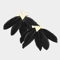 "3"" black feather boho pierced earrings"