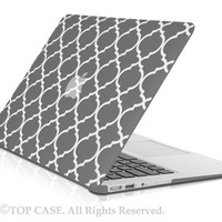 """TopCase Quatrefoil / Moroccan Trellis GRAY Ultra Slim Light Weight Rubberized Hard Case Cover for Macbook Air 13"""" Model: A1369 and A1466"""