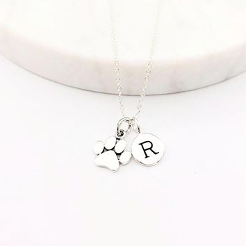 Silver Paw & Initial Charm Necklace