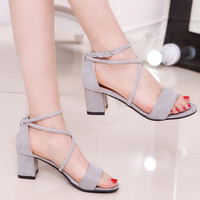 Women Sandals 2017 Summer New Sandals Fashion High-heeled Suede Women Shoes Normal Size 35-39 Zapatos Mujer Chaussure Femme