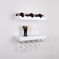 "WELLAND® 22""L x 11""D x 5""T Wall Mounted Bottle Wine Rack Shelf with Glass Holder Set New (White)"