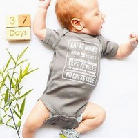 Eat At Mom's Baby Onesuit in Shark Gray