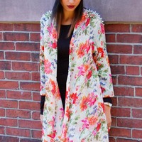 Floral Cardigan with Silver Spike Shoulders & Open Front