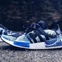"""Adidas"" NMD PK Blue Waves Trending Fashion Casual Sports Shoes"