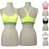 Seamless H-Back Striped Adjustable Strap Padded Sports Bra