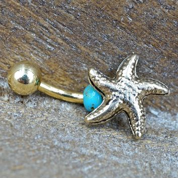 Starfish Sea Star Gold Belly Button Ring