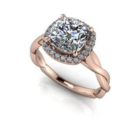 Cushion Cut Halo Diamond Engagement Ring - Forever One Moissanite Ring - Customize Your Ring