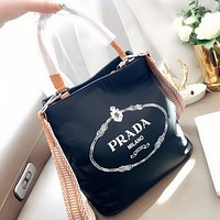 Prada New Fashion Letter Print Shoulder Bag Handbag Crossbody Bag Black