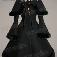 """""""Princess Necklace"""" Hime Lolita,Flocking Collar Thick Wool Coat&Capelet"""