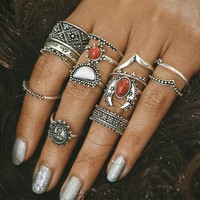 14 pcs/Set Antique Silver Color Moon Sun Ring Sets